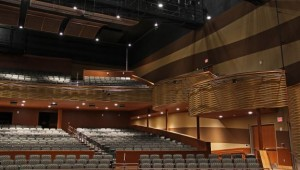 An empty concert hall with 2 floors and many seats