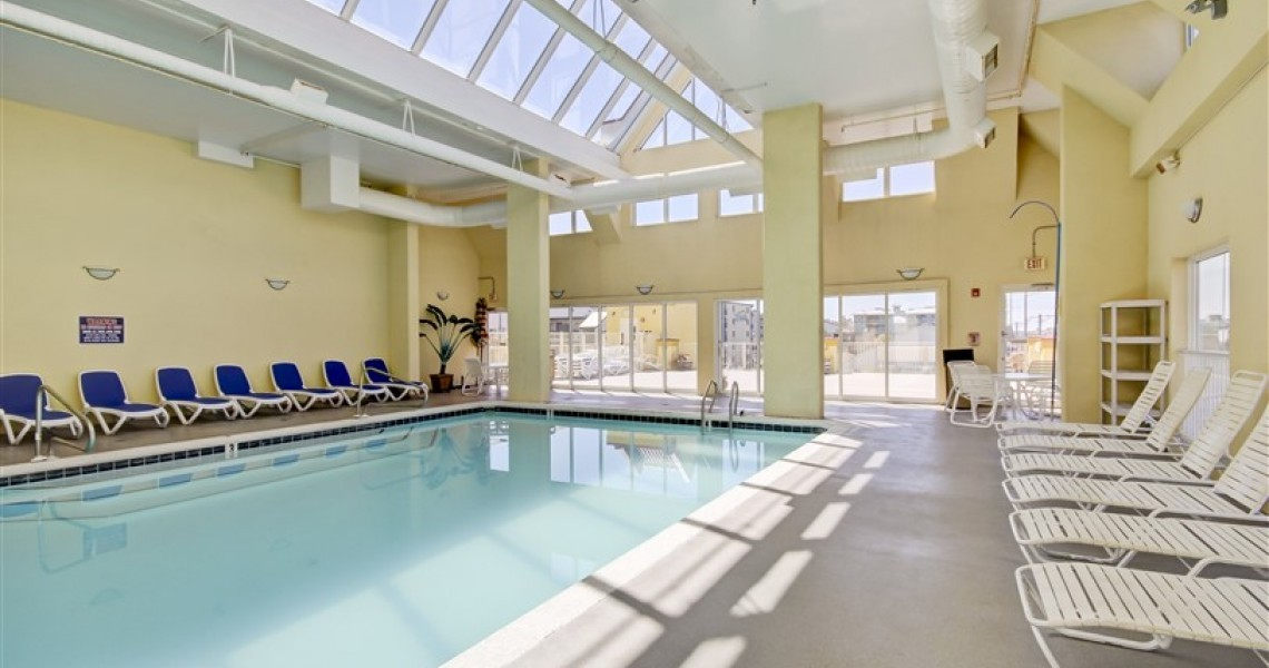 A large indoor pool with skylights
