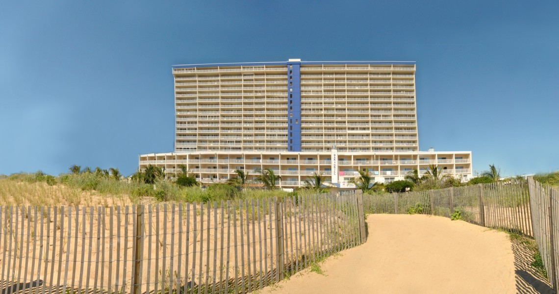 A View of the Carousel Hotel from the beach