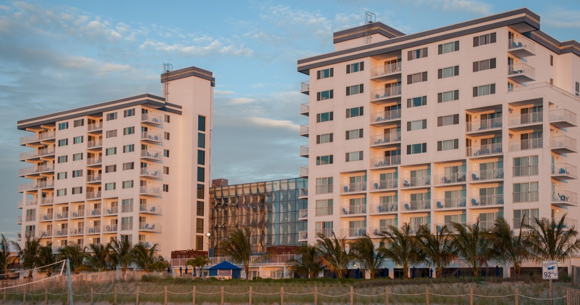 Two parts of the Princes Royale Oceanfront resort next to eachother