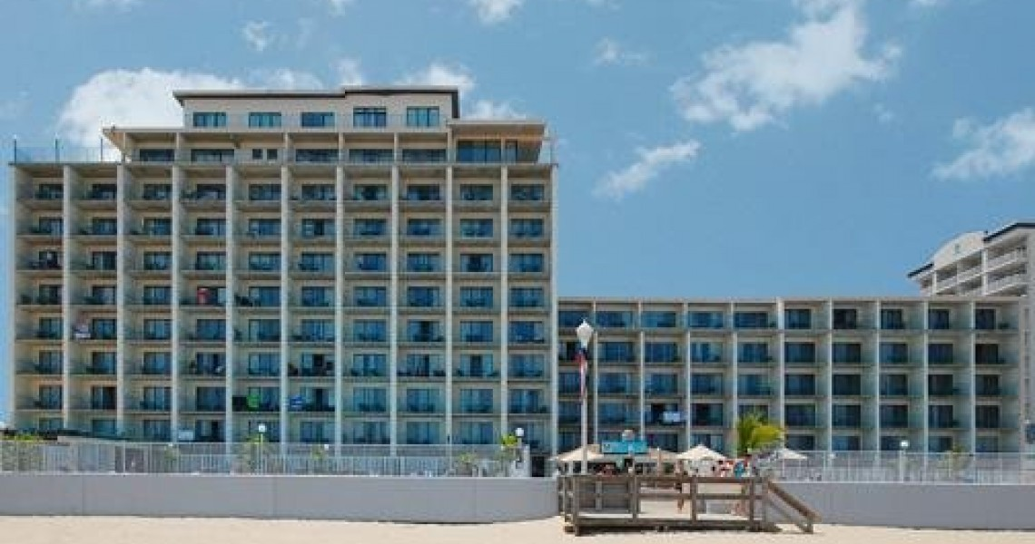 A View from the beach of the Quality Inn Hotel