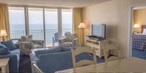 A two room rental room with an ocean view